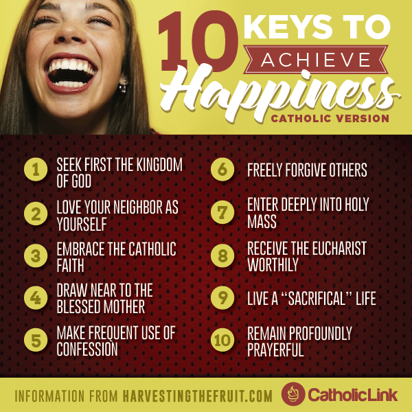Infographic: 10 Keys to Achieve Happiness Catholic Version