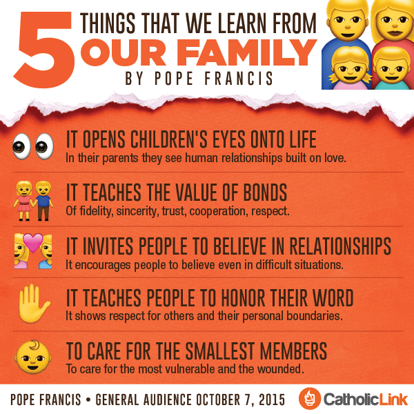 5 Things We Learn From Our Family According to Pope Francis