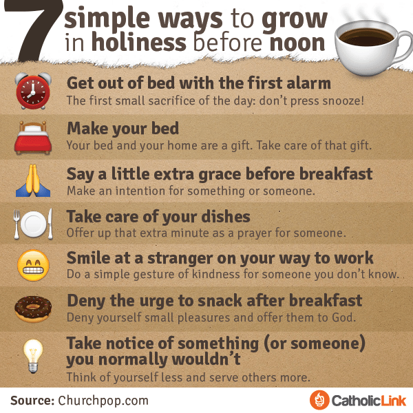Infographic: 7 Simple Ways to Grow in Holiness Before Noon