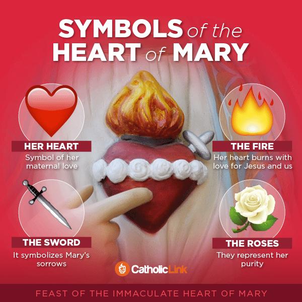 Catholic Infographic: Symbols of the Immaculate Heart of Mary | Catholic-Link.org