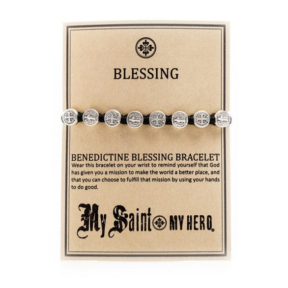 Benedictine-Blessing-Bracelet-Silver-on-Card-copy