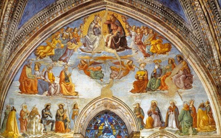 GHIRLANDAIO, Domenico Coronation of the Virgin 1486-90, Fresco, Cappella Tornabuoni, Santa Maria Novella, Florence