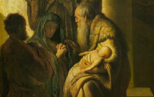 Simeon and Anna Recognize the Lord in Jesus , Rembrandt ~1627, Kunsthalle, Hamburg