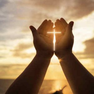 Glory of Easter Spiritual Exercises Human hands open palm up worship. Eucharist Therapy Bless God Helping Repent Catholic Easter Lent Mind Pray. Christian concept background.