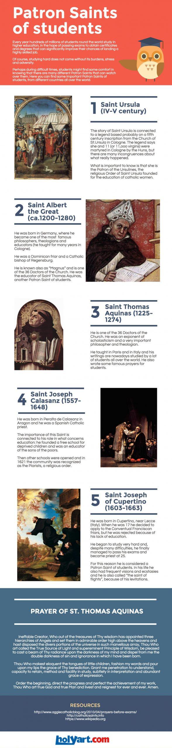 5 patron saints for students