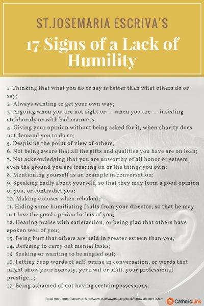 17 Signs of Lack of Humility Josemaria Escriva Quotes