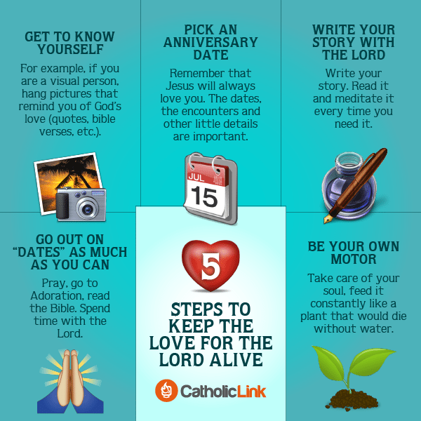 How to Catholic Infographic: 5 steps to keep the love for the Lord alive