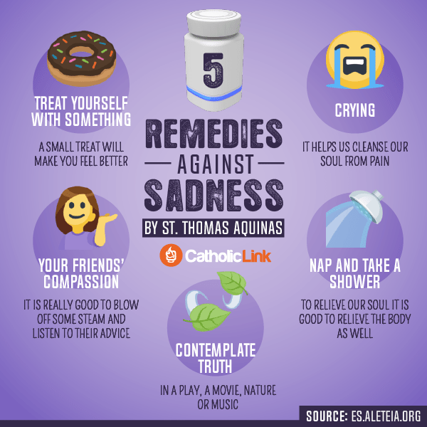 Infographic: 5 Remedies Against Sadness, St. Thomas Aquinas