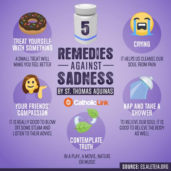Infographic: 5 Remedies Against Sadness, St. Thomas Aquinas