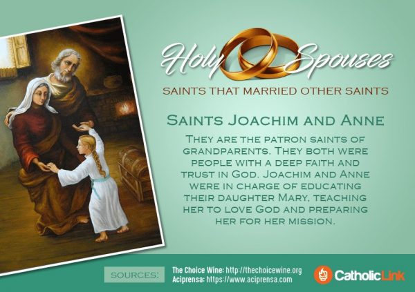 St. Joachim and St. Anne St. Aquila and Priscilla Luigi and Maria Beltrame Married Saints Spouses Catholic