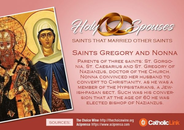 St. Gregory and Nona Married Saints Spouses Catholic