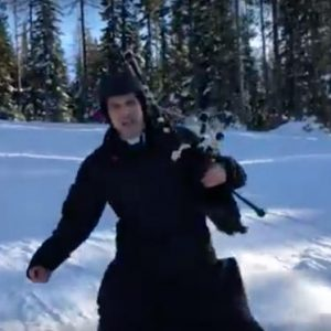 catholic priest skiing bagpipes