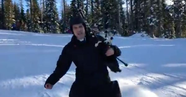 catholic priest skiing bagpipes