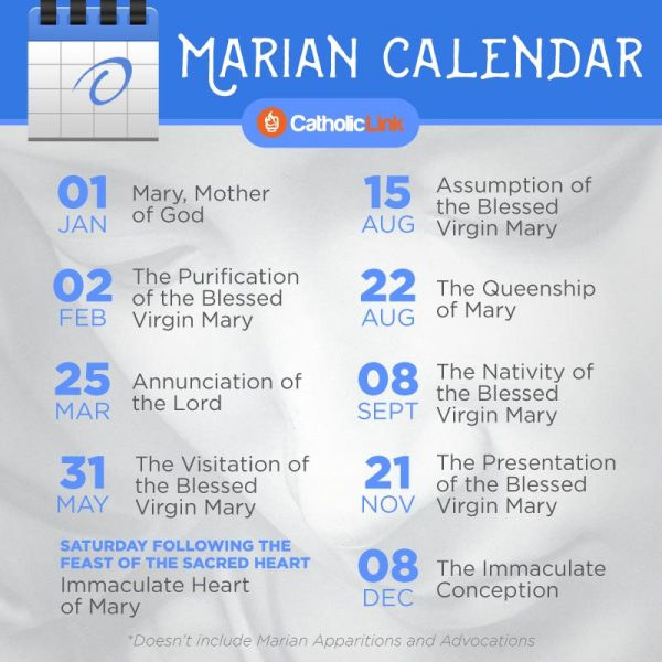 Marian Calendar Of Feasts And Solemnities