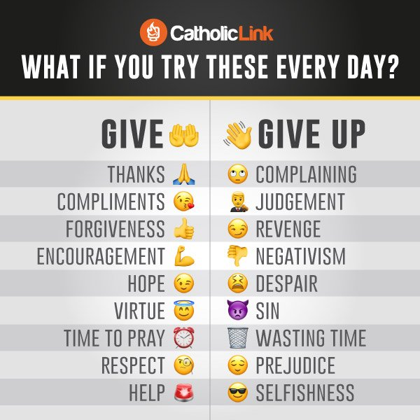 Catholic quotes, infographics, memes and more resources for the New Evangelization. What if you try these every day? Give and give up