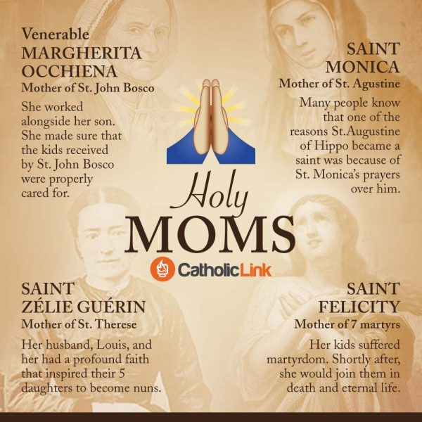 Infographic Holy Moms - 4 Saints Who Were Mothers