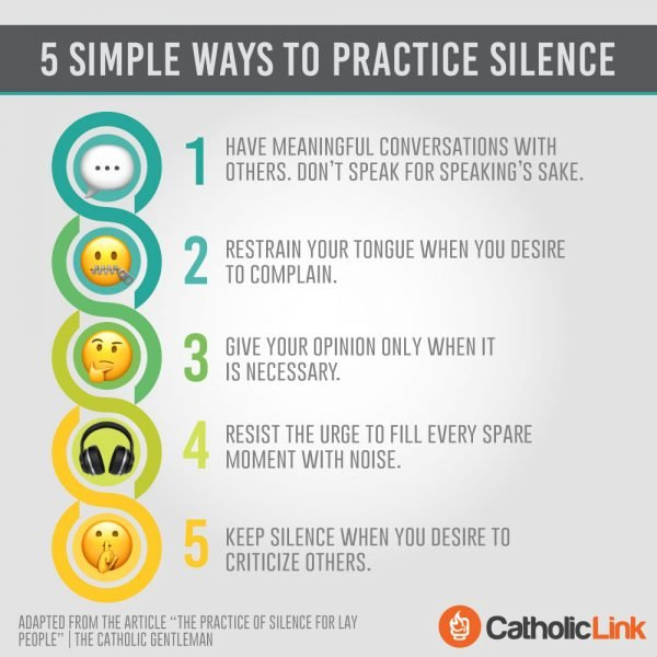 Infographic: 5 Simple Ways To Practice Silence | Catholic-Link
