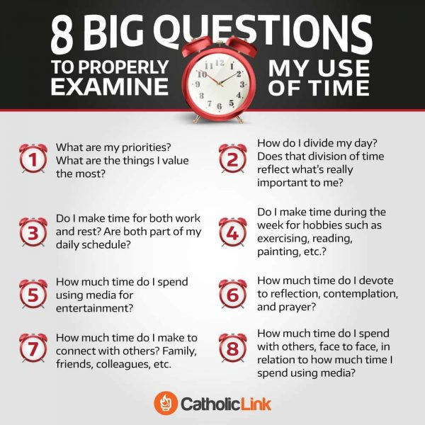 Catholic quotes, infographics, memes and more resources for the New Evangelization. Infographic: 8 Questions To Examine My Use Of Time.