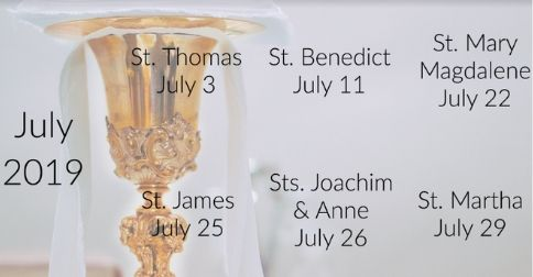 Catholic July Feast Days