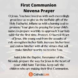 First Communion Novena Prayer