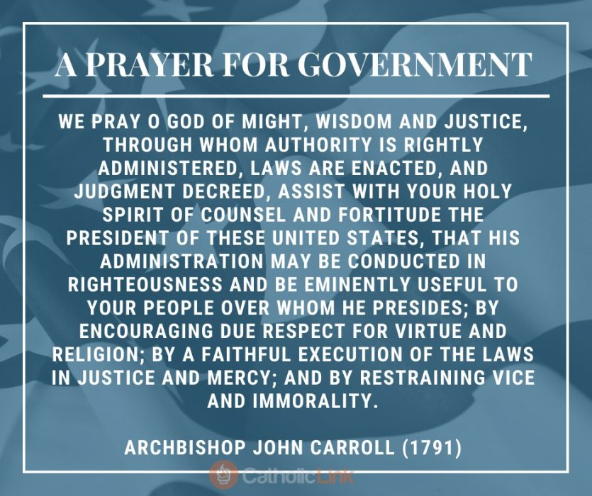 A PRayer For Our Government Catholic Archbishop John Carroll