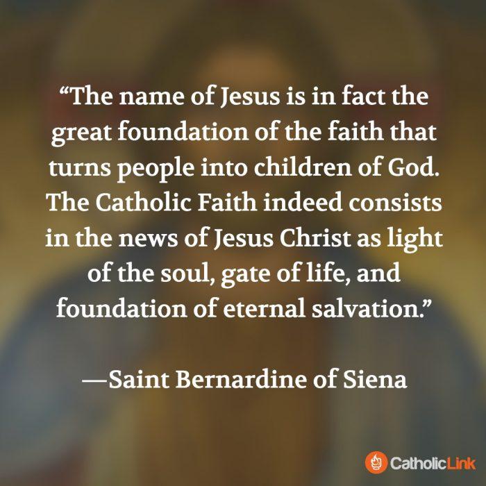 St. Bernardine Quote Holy Name Of Jesus