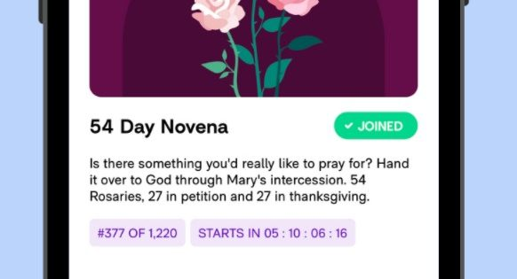 Hallow prayer Catholic app Rosary Novena