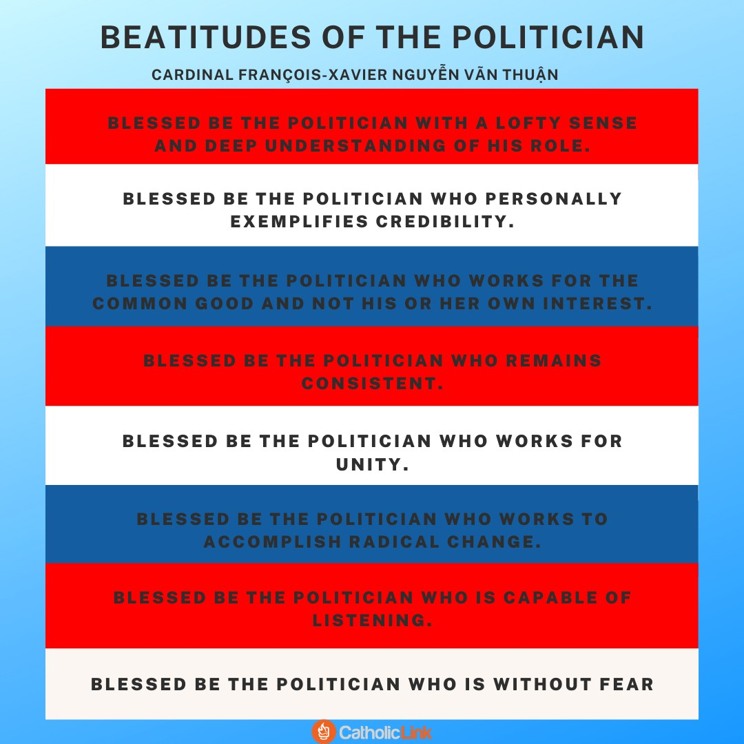 "Catholic voting ""Beatitudes of the Politician"", proposed by Vietnamese Cardinal François-Xavier Nguyễn Vãn Thuận"