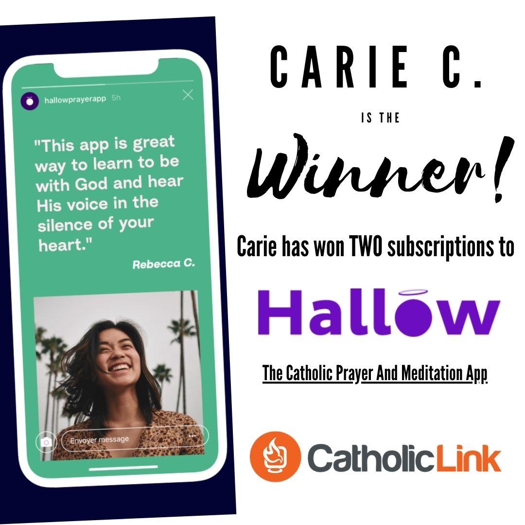 Winner Of The Hallow - Catholic Prayer And Meditation App Contest