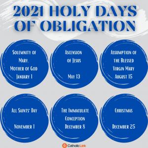 Catholic Holy Days Of Obligation 2021