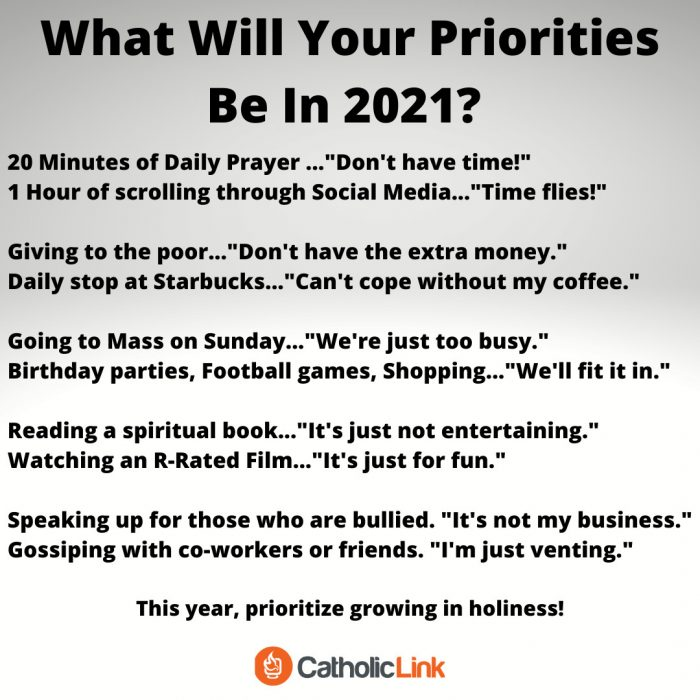 2021 Priorities New Year's Goals Catholic Resolution