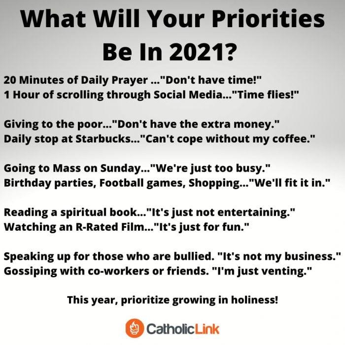 2021 Priorities New Year's Goals Catholic Resolution