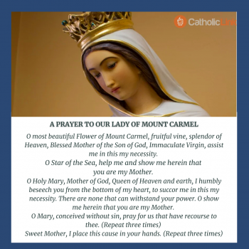 Prayer Of Our Lady Of Mount Carmel