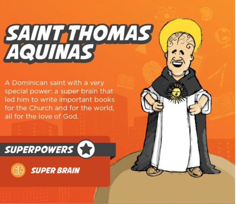 St. Thomas Aquinas superhero saints for kids