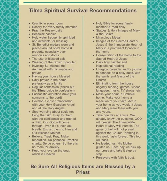 30 Things Needed For Catholic Spiritual Survival
